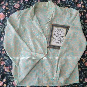 Planet | 12 | Button Up Peach & Teal Blouse